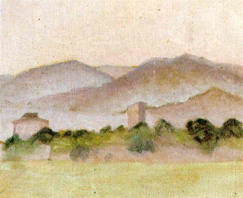 Ivan Agueli - Sydländskt bergslandskap