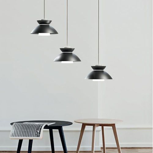 Minimal yet funky Danish designed pendant light, available in black or brushed steel finish. Great for over benches, tables or bars.  Click the image to shop on lightworksonline.com.au