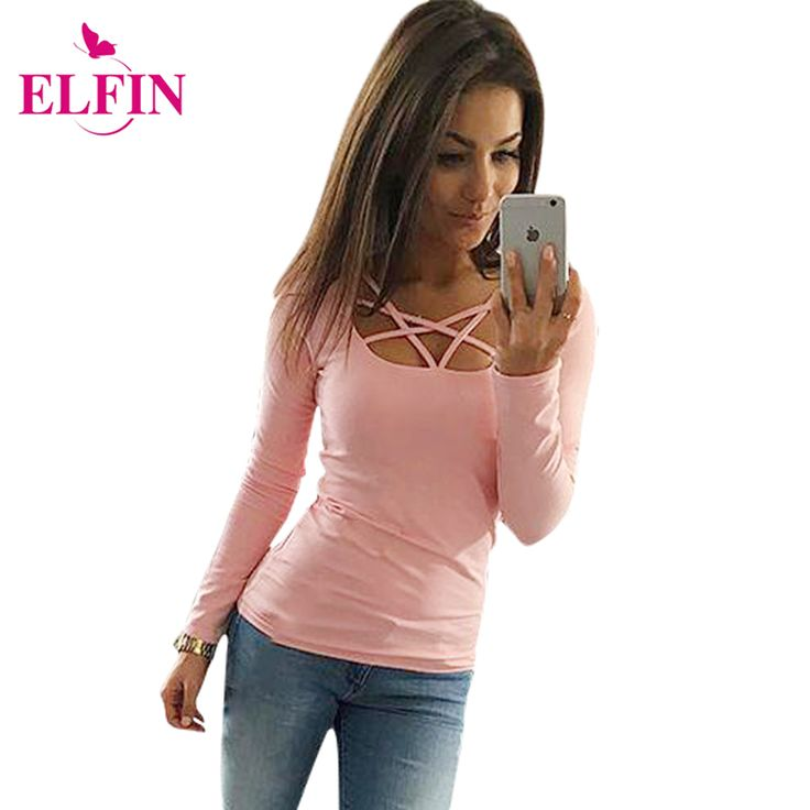2016 Autumn T Shirt Women Long Sleeve Slim Fit Fashion Ladies Top Hollow Out Tops Tee Solid LJ4515R *** Check out the image by visiting the link.