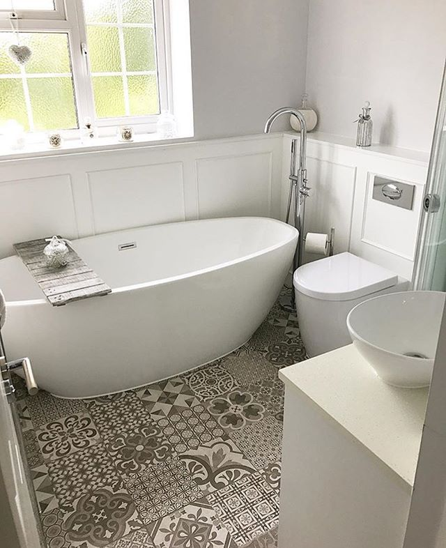 Morning everyone ✨ The bathroom I'd like to share with you next belongs to the @not.just.a.house.its.our.home Gorgeous bath, stunning floor, beautiful panelling around on the walls and I am totally obsessed with your freestanding tap! I didn't even know they existed! Fantastic job  Well done. Love it! #bathroomideas #bathroomdecor #bathroomremodel #bathroominspo #bathroomdesign #bathroom #bathroominspo #bathinspiration #interiors #interiorinspo #interiordesign #interiorinspo #interior…