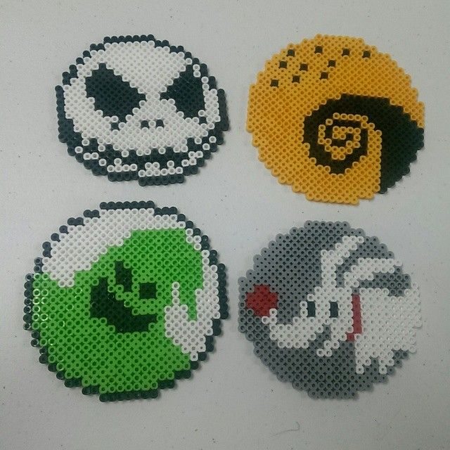 Nightmare Before Christmas coasters hama beads by adventurstin
