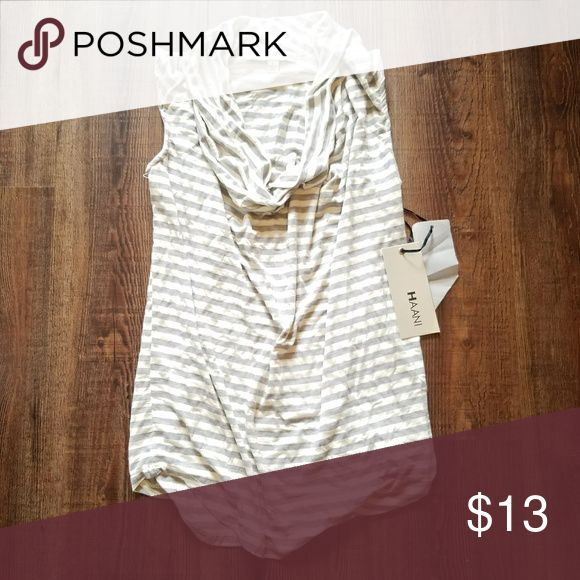 NWT Dressy striped top Dressy gray and white striped top Slouchy at the top! Haani Tops Blouses