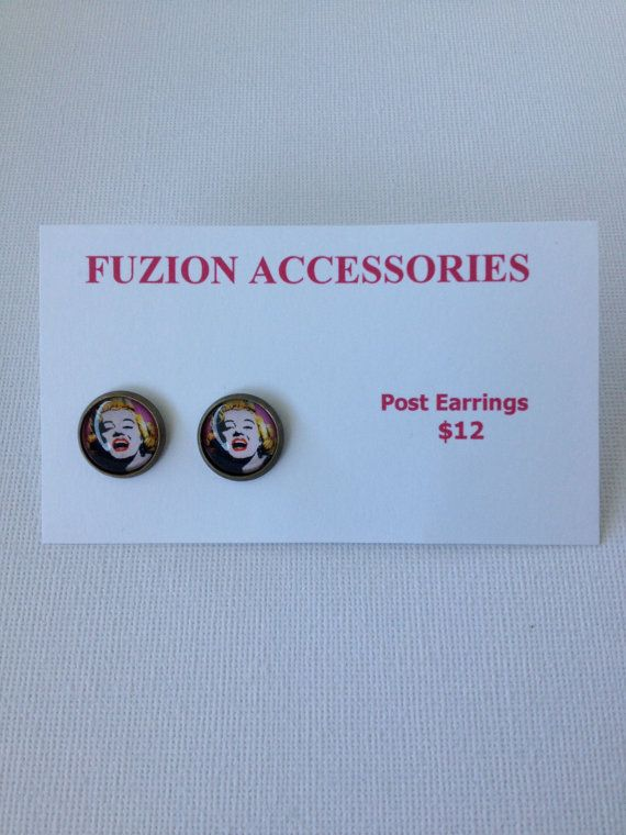 Pop Art Marilyn Monroe Brass Post Earrings $12