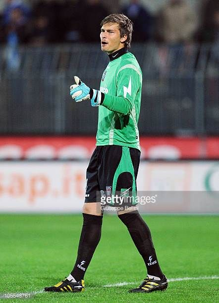 Vid Belec of Crotone in action during the Serie B match between Ascoli Calcio and FC Crotone at Stadio Cino e Lillo Del Duca on October 13 2010 in...
