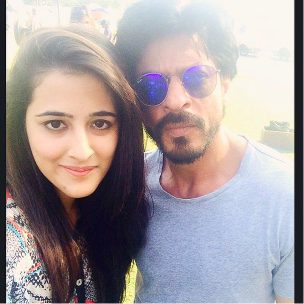Check out ! Shah Rukh Khan with Kriti Sanon's sister Nupur Sanon on the sets of 'Dilwale' in Hyderabad