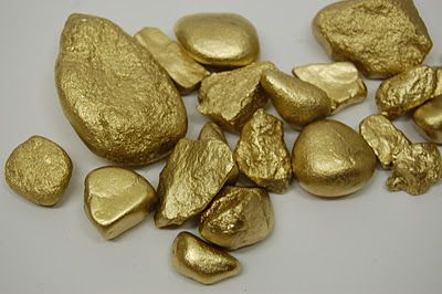 "Whatever Dee-Dee wants, she's gonna get it: Spray paint stones with gold spray paint to make treasure ("",)"