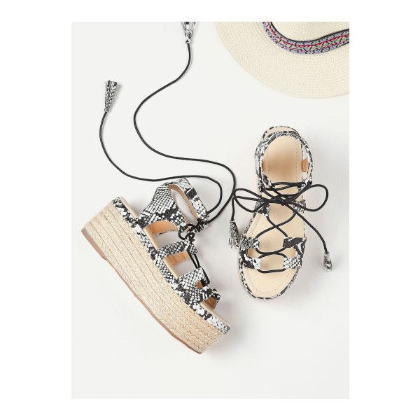 SheIn(sheinside) Snake Print Lace Up Espadrille Flatform Sandals ($41) ❤ liked on Polyvore featuring shoes, sandals, black and white, lace up high heel sandals, lace up espadrilles, snake print sandals, strappy sandals and flatform sandals