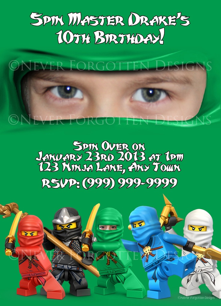 Photo Ninjago Invitations ninjago Pinterest – Ninjago Party Invitations