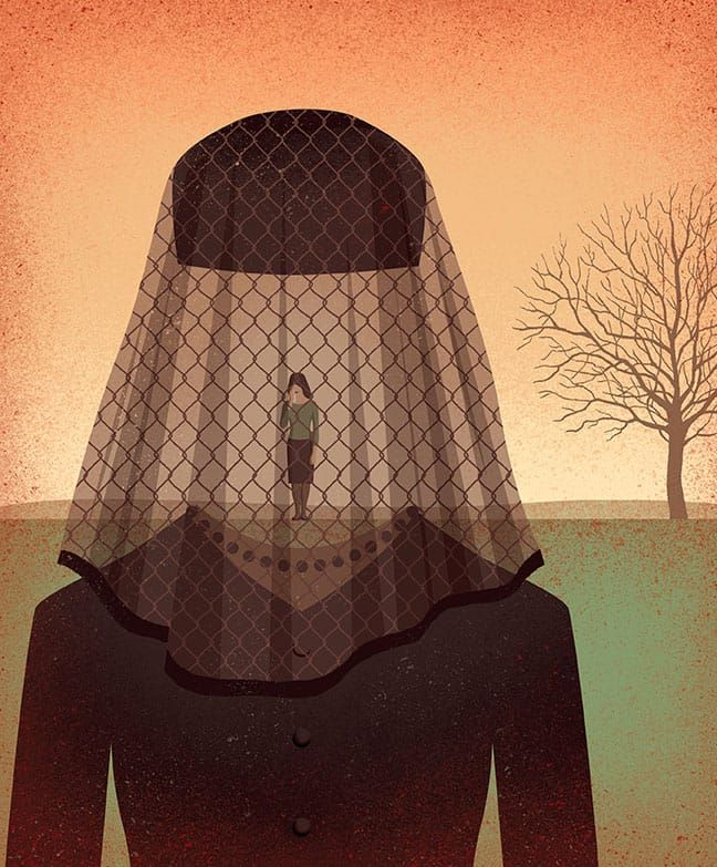 Davide Bonazzi - Entrapped in a complicated grief. Client: Columbia Medicine magazine. #conceptual #editorial #illustration #grief #mourning #death #veil #sad #sorrow #davidebonazzi