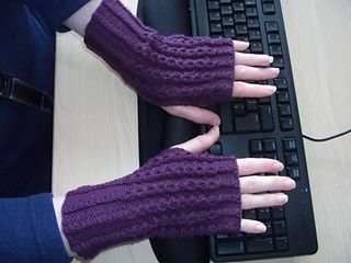 Name was Twisted Rib/Eyelet Mock Cable - Fingerless Bared Thumb Mittens