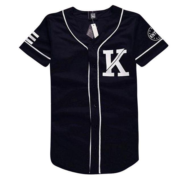 Jerseys del béisbol del Mens diseño negro blanco patchwork t shirt 07 KNYEW imprimir hombre de manga corta camisas casuales tops de hip hop tee