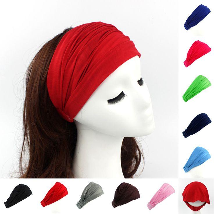 Dames katoenen Haarband Head Band Hoofdband Wrap Hals Hoofd Sjaal Cap 2 in 1 Bandana