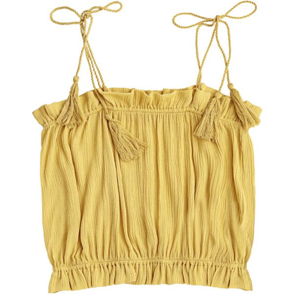 Cropped Ruffles Tassels Tank Top ($14) ❤ liked on Polyvore featuring tops, flounce tops, tassel crop top, beige top, flutter crop top and cropped tank top