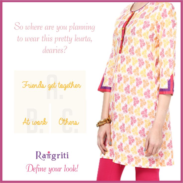 Color up your Monday with this peppy kurta! You can get this Rangriti here: bit.ly/1G9h3qi  #follow #pretty #style #girls #awesome #amazing #bestoftheday #picoftheday #tagstofollow #fashion #fun #beautiful #girlsfashion #fashionhub