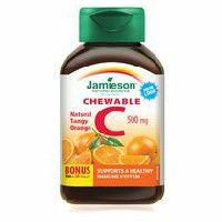 Jamieson Natural Tangy Orange Vitamin C Chewable Tablets, 500 mg