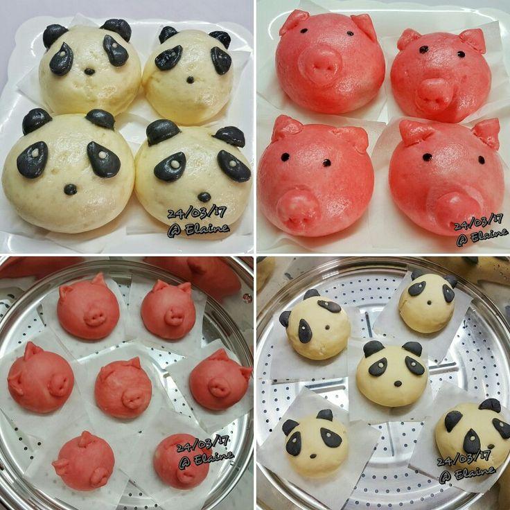 Home-made Chinese Steam Bun . . . .  #sgfood #sg #homecooked #homemade  #bun #bunchinese #milk #sugar #love #happy #family #gifts #sugar #sweet  #chocolate #steamed #flour #bread #yeast #teatime #makewithlove #cute #kawaii #pig #panda
