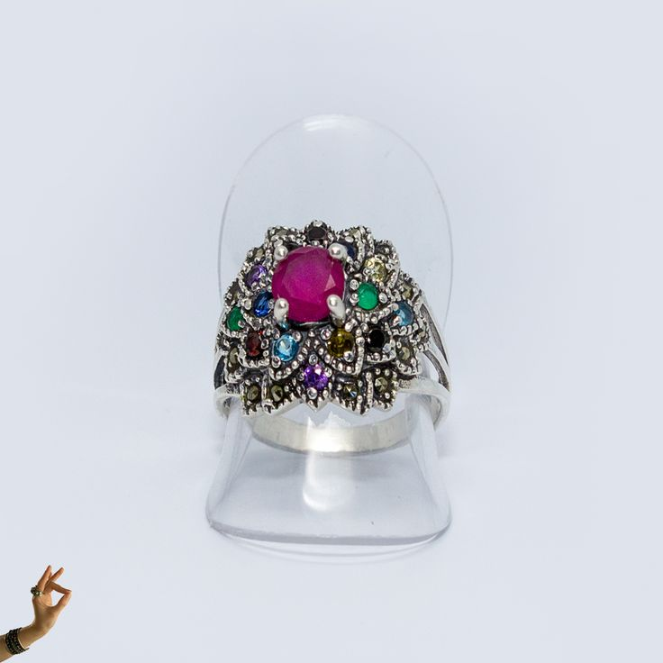 Ruby Centred Sterling Silver Ring with Natural Gemstones