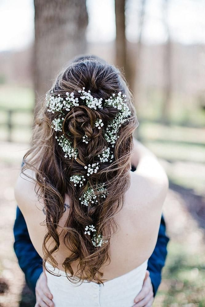 Baby S Breath Wedding Ideas For Rustic Weddings Wedding Forward Romantic Hairstyles Wedding Hairstyles Bride Romantic Wedding Hair