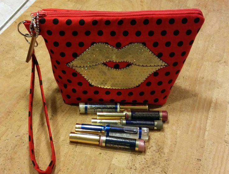 Distributors wristlet bag for LipSense, purse, re, black Polk a dots,  holds  21 lipsticks & additional supplies, shimmering golden lips by jewellgem on Etsy