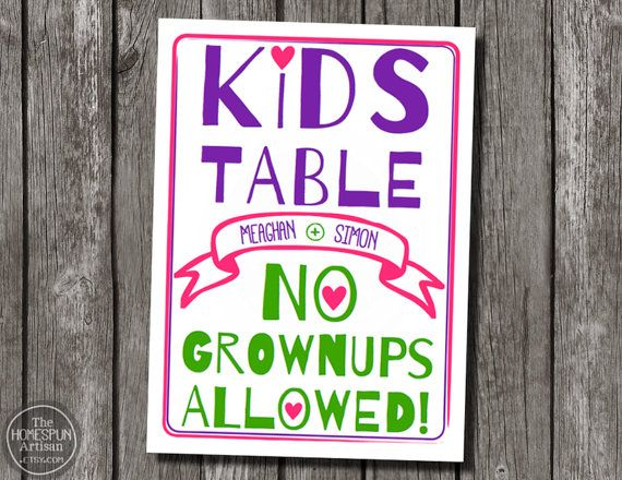Kids Table Wedding Sign | Custom Printable - Sweet Pickles!! Recently re-designed too! Check it out. :)