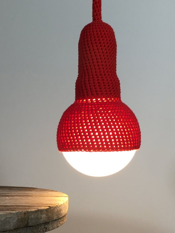 red pendant light, crocheted ceiling light with 1 meter cord by etaussi