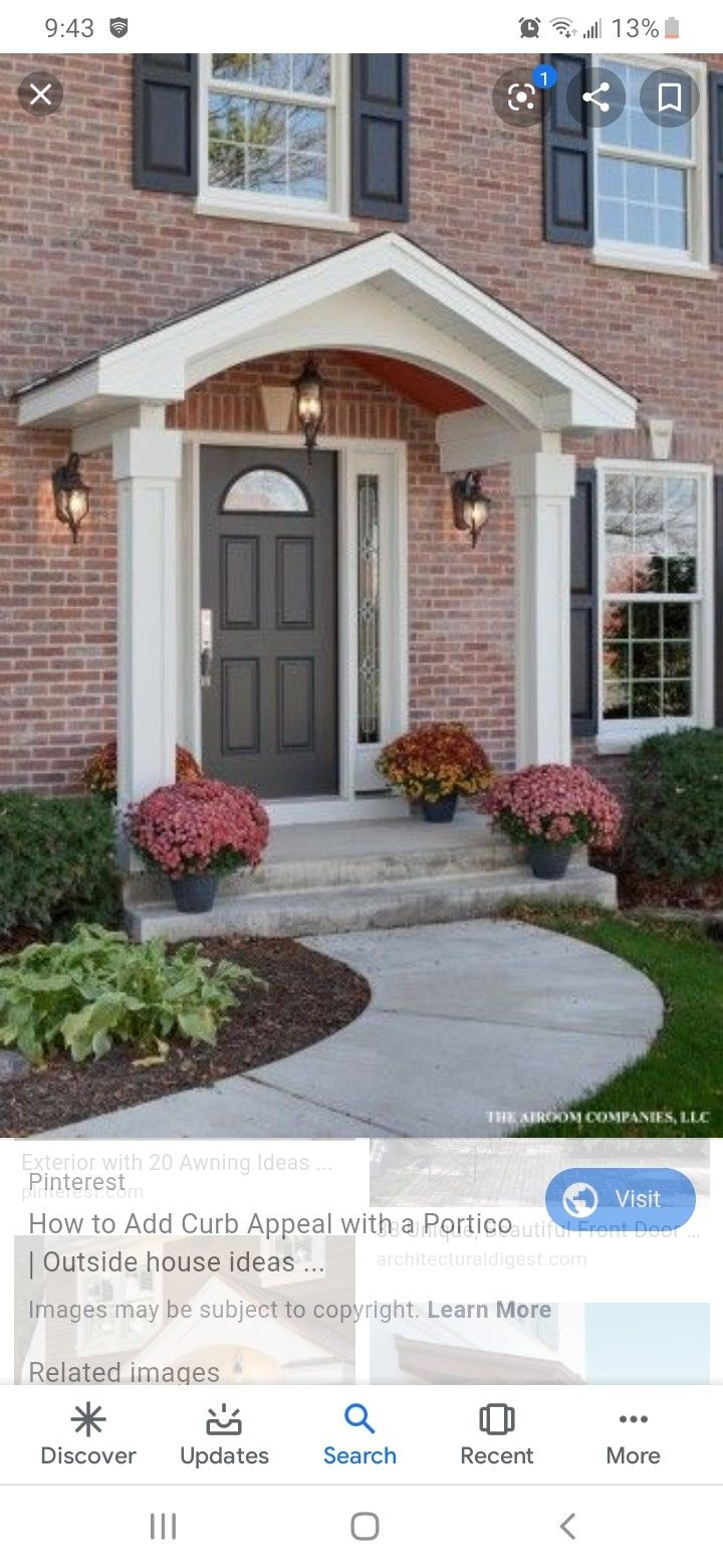 Porch Overhang In 2020 House Front Porch Porch Design Front Door Awning