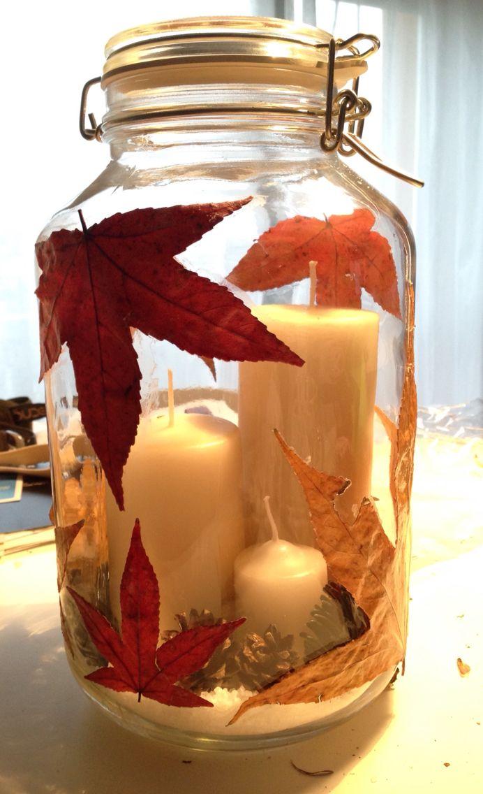 """centrotavola made by me ,foglie vere,essicate e """"plastificate"""" con il Vinavil e…"""