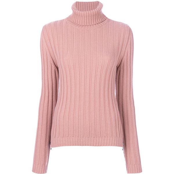 Moschino roll neck jumper ($695) ❤ liked on Polyvore featuring tops, sweaters, pink, long sleeve jumper, pink top, roll neck sweater, long sleeve tops and long sleeve sweater