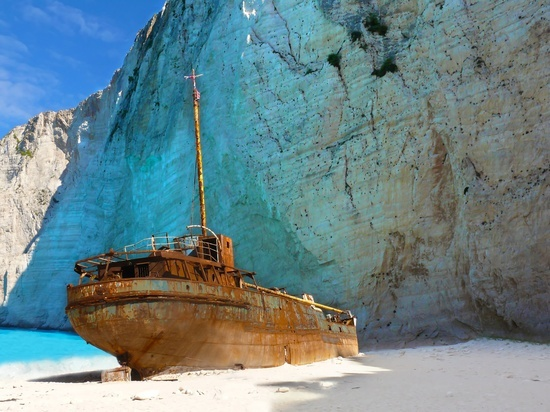 Ship wreck on Navagio beach, Zakynthos. One of the most photographed ship wrecks in history.
