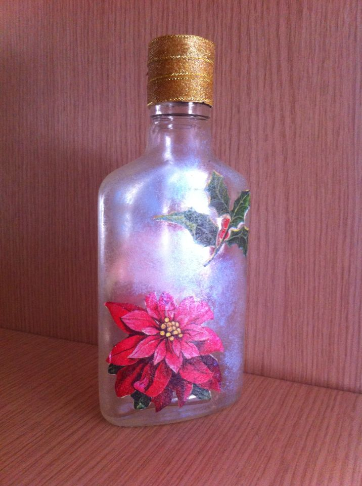 Handmade Bottle with the decoupage technique #myhope #christmas #decoration