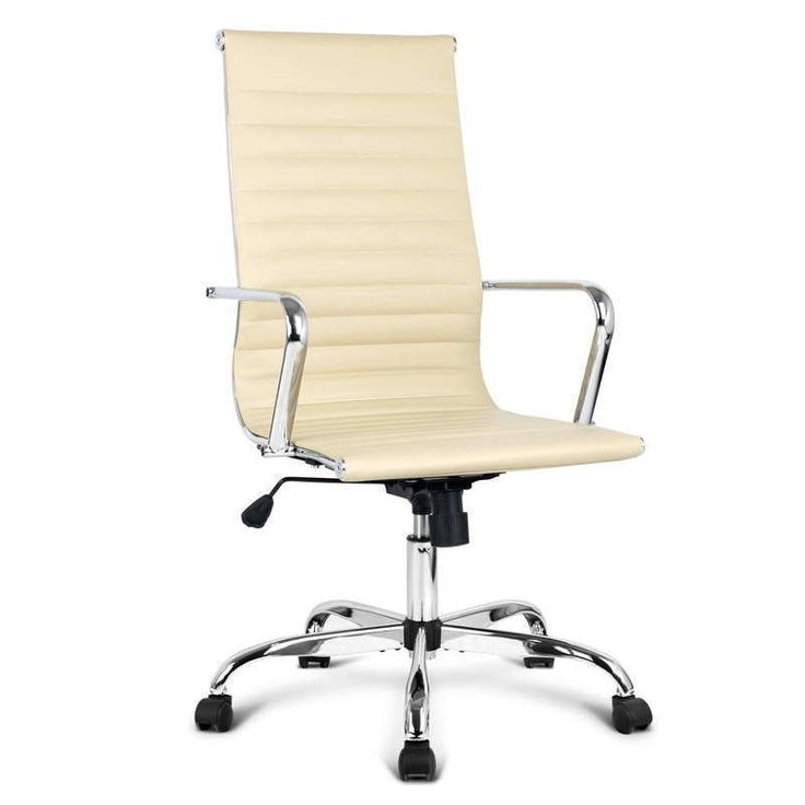 High Back Premium PU Leather Office Chair in Beige | Buy Boardroom Chairs