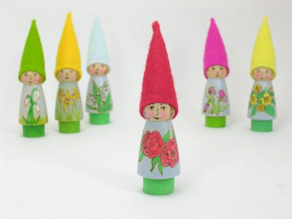 June Birth Flower Gnome- Red Rose Gnome, painted flower gnome, wooden gnome toy, birthday keepsake, birthday ring, waldorf inspired