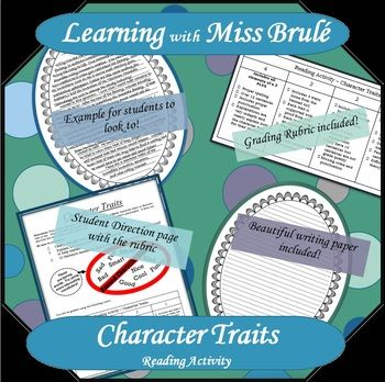 Activity to complete after reading a book. Good activity to add to a reading bingo board! Students are asked to write about 3 character traits of one of their characters. They must refer to the story to explain their character trait Includes: * Student direction page * Grading Rubric * Example of a completed essay * Blank writing template