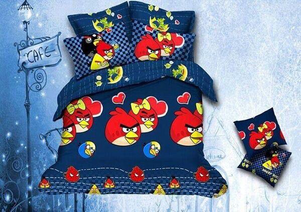 Angry bird Bed Sheet Kids cartoon glace cotton bedsheet