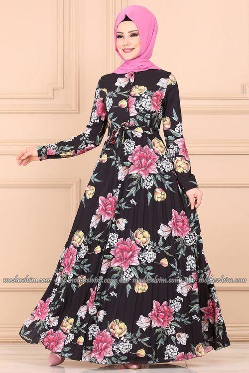 Modaselvim Elbise Onden Dugmeli Piliseli Elbise 202al357 Siyah Elbise The Dress Elbise Modelleri