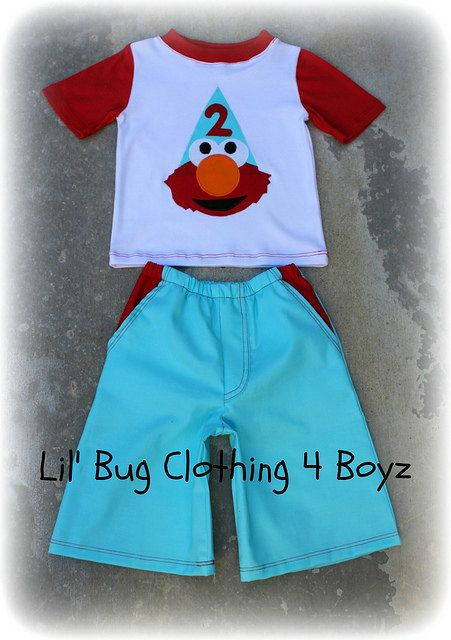 Really like this!!   https://www.etsy.com/listing/107009890/boys-elmo-polka-dot-teal-and-red-short