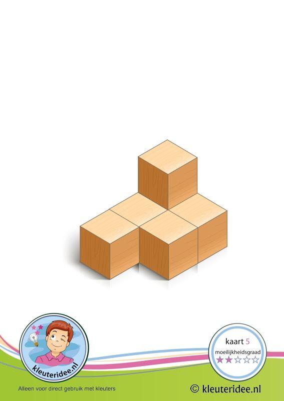 50 cards: Bouwkaart 5 moeilijkheidsgraad 2 voor kleuters, kleuteridee, Preschool card building blocks with toddlers 5, difficulty 2
