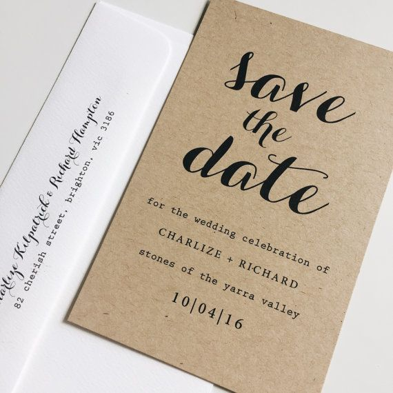 Deposit : kraft save the date cards typography by KRAFTANDWHITE