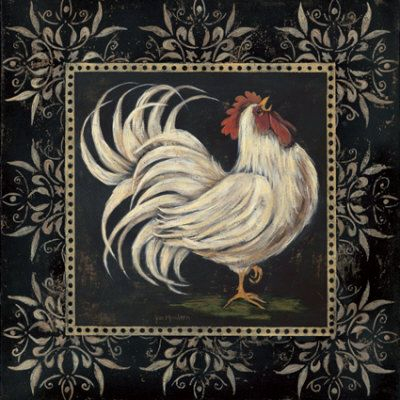 black and white folk rooster Have the pair in my kitchen and love them!!!