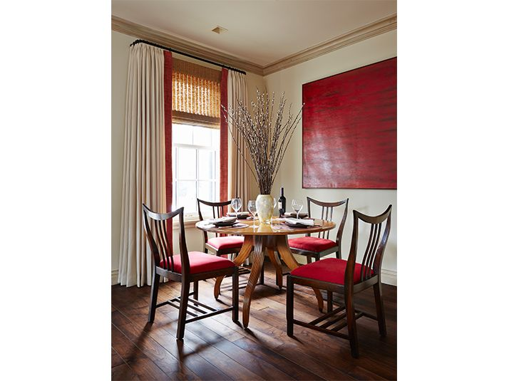 White Drapes Banded In Red
