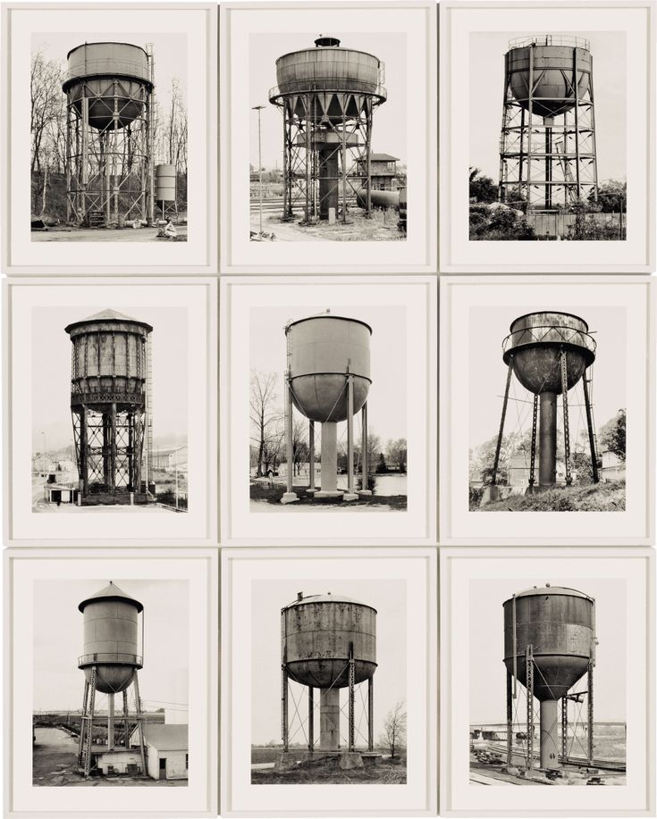 Bernd and Hilla Becher, Water Towers, 1980. Nine gelatin silver prints, approximately 61 1/4 x 49 1/4 inches (155.6 x 125.1 cm) overall