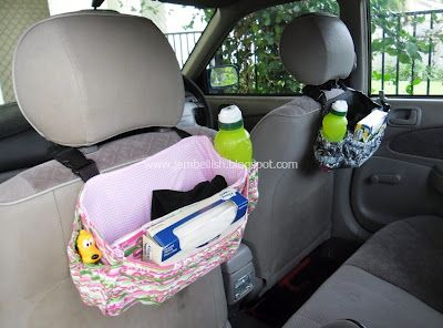Car seat organizer ~ this might be a better alternative to the ones that hang all the way down.