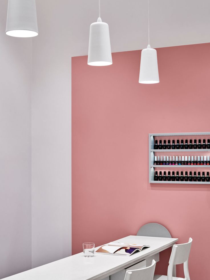 Modern nail salon in Sydney, with pink and grey tones. Interiors by Jason Byrne Design, photography by Justin Alexander for Professionail.