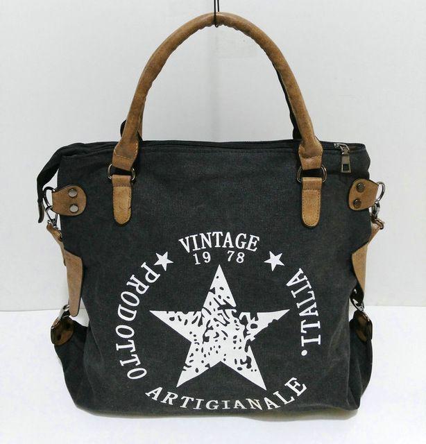 Rdywbu vintage big star printed canvas tote handbag women's multifunctional travel shoulder bag letters messenger bolsos b211 – Products