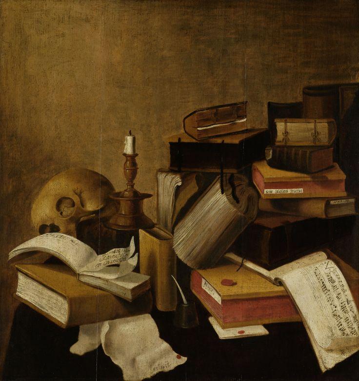 Vanitas stilleven met boeken anoniem 1633 Rijksmuseum