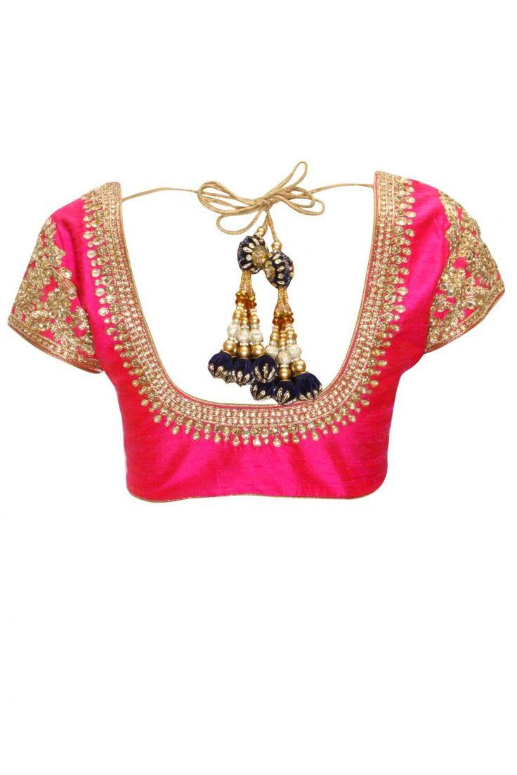 Aqua and beige mukaish work kali sari with pink kundan blouse available only at Pernia's Pop-Up Shop.
