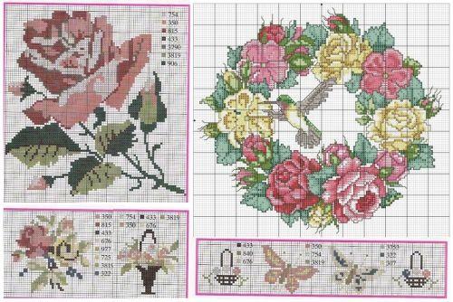 подборка схем для вышивки розы, роза, цветы, букет, подушки с вышивкой