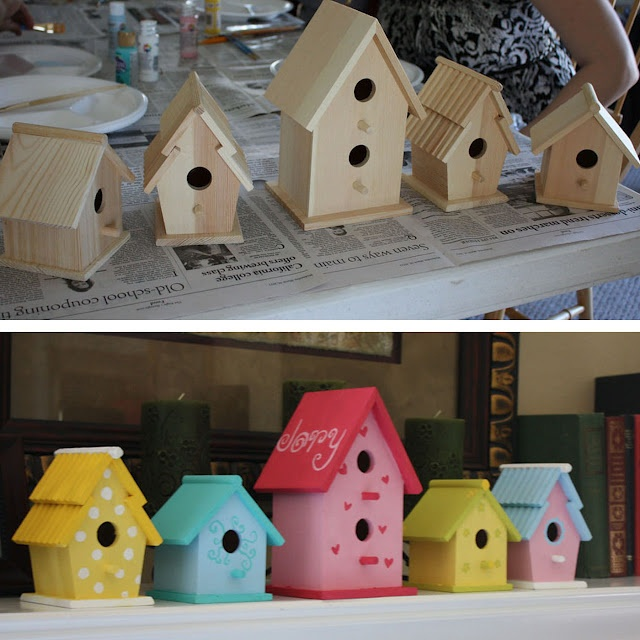 birdhouses suspended over her bed :)