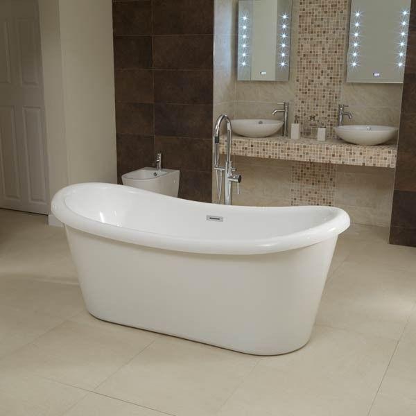saffiano 1750 x 800mm double ended slipper bath tub