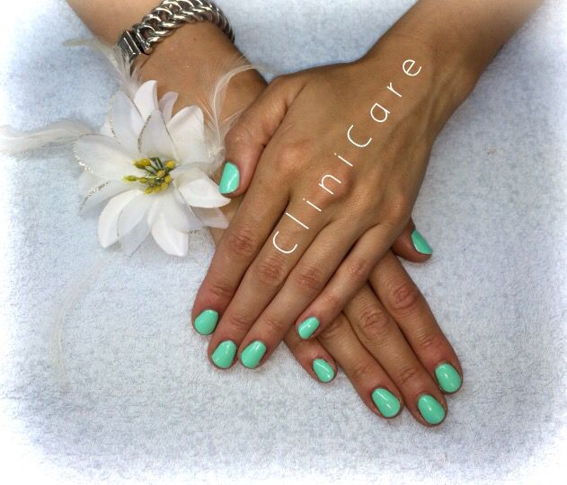 Ibiza style mint green gel nails@ CliniCare CND SHELLAC